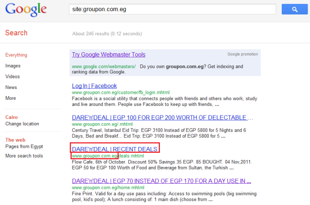 Groupon Egypt Site Has Also Been Indexed By Google